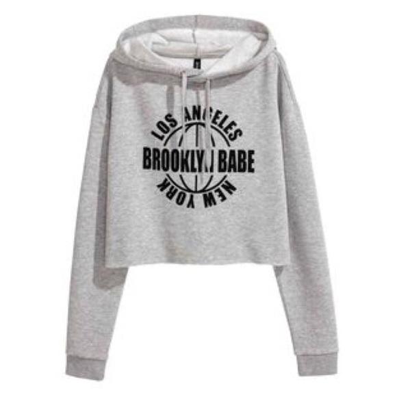 d980f346c47 H&M Tops | Hm Brooklyn Babe Cropped Gray Hoodie | Poshmark